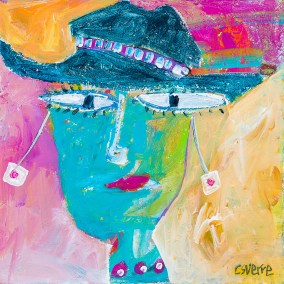 Christy Sverre Lady in her Fedora 13 x 13 Acrylic on Canvas (Framed)