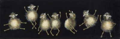 """""""Sheep Ballet"""" 8"""" x 24"""" Acrylic on Canvas - SOLD"""