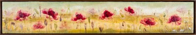 Tanya Kirouac Morning Flowers 48 x 8 Encaoustic on Wood Panel Framed