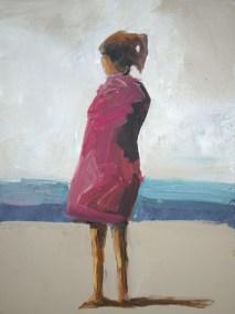 "Windy Beach 12"" X 16"" Acrylic on Paper on Board SOLD"