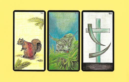 trois cartes de l'oracle Gé