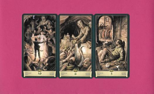3 arcanes mineures du tarot du Nécronomicon