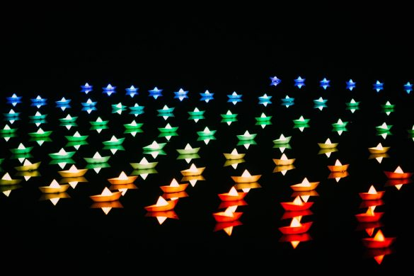 Paper boats with lights