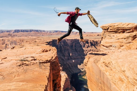 Man jumping over the abyss