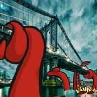 The octopus attacked the Brooklyn Bridge