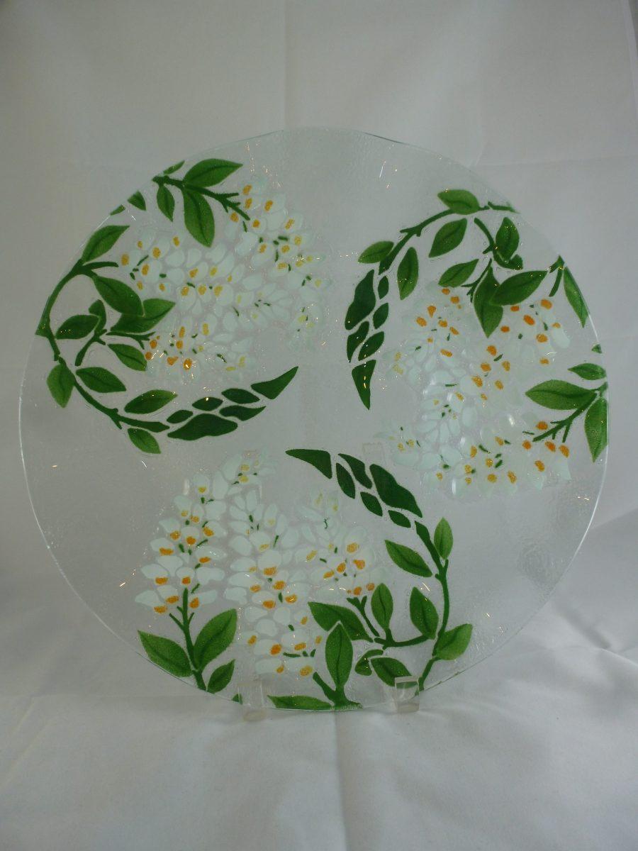 White Wisteria Cake Plate