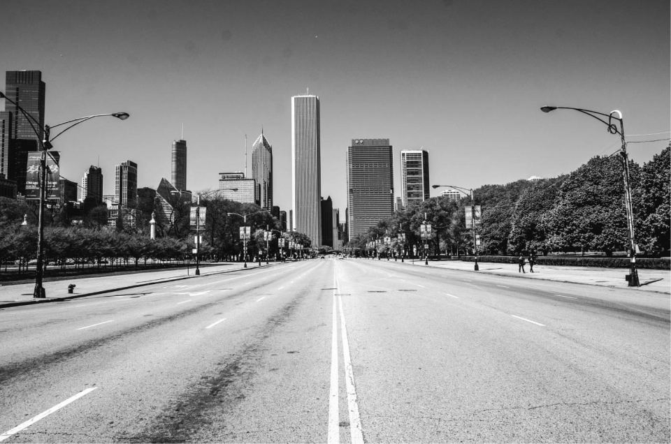 Chicago View from Empty S Lake Shore Drive