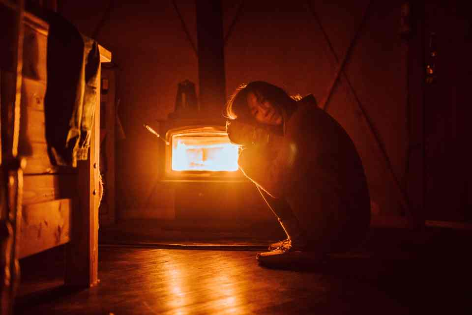 Low light example with only wood stove lighting