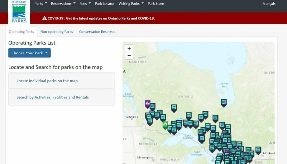 Ontario Provincial Parks - Park Locator from Ontario Park Website