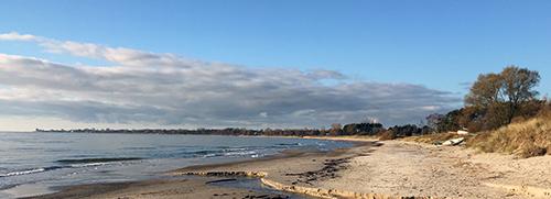 Första milen gick över förväntan. Termometern börjar väl krypa över nollan. Temperaturen var perfekt för sandlöpning. Ingen tjäle som fryser sanden i klumpar ett par cm ned och som lätt släpper och blir tung. Nej, det var helt enkelt kall sand som gav dämpning men där man inte sjönk ner. Bästa tänkbara strandunderlag.