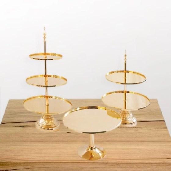 Gold dessert Platter (set of 3)