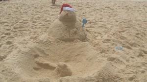 Christmas Sandman on Bondi Beach
