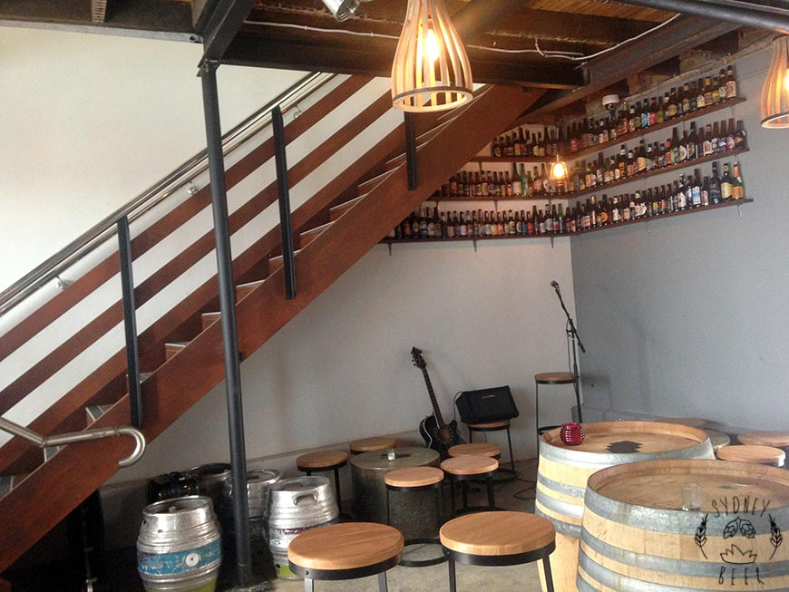 Staves Brewery Bar staircase and barrels