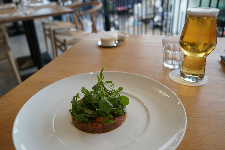 Frenchies Bistro & Brewery beef tartare and kolsch