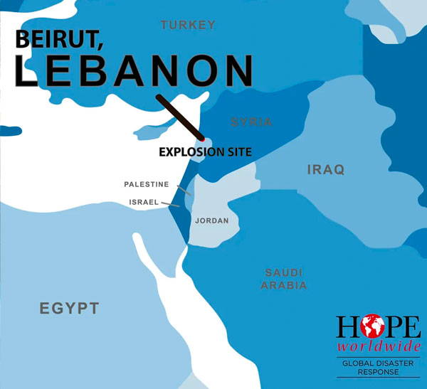 map of lebanon explosion site