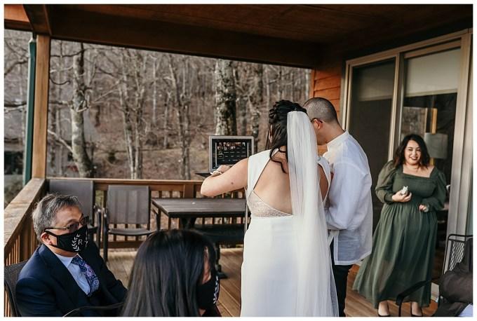 Covid wedding, talking to family via zoom