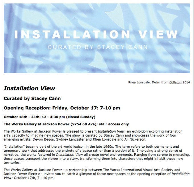 INstallation View Invitation