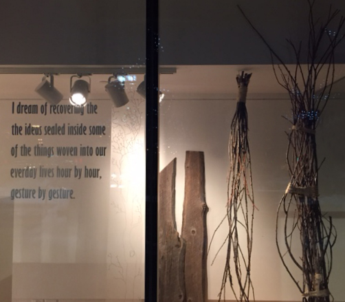 A quick shot of the installation work I did in the exterior window of the gallery. The quotation is taken from  Roger-Pol Droit's lovely book, entitled How Are Things? It seemed to sum up so perfectly that I have been striving for, in this body of work, and in my practice as a whole.