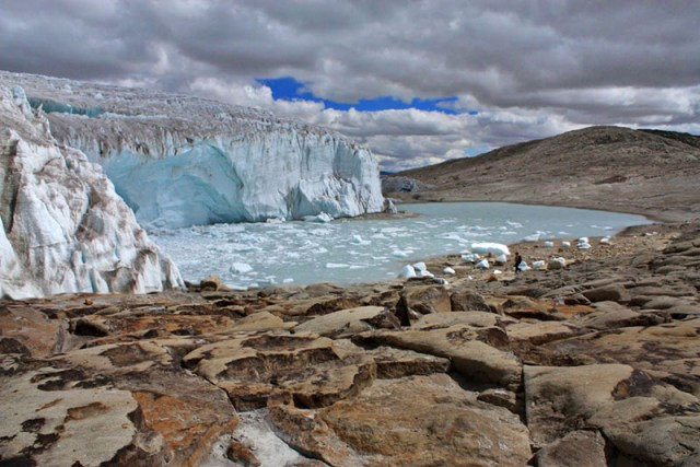 Quelccaya Glacier located in southern Peru in the Cordillera Vilcanota.