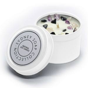 Crystal Healing 2oz Candle White Tin