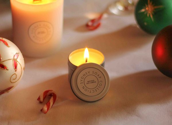 Christmas Candles White Tin