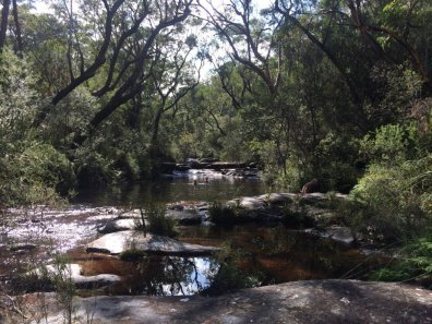 Swimming at Rocky Ponds, day walk from Little Wobby