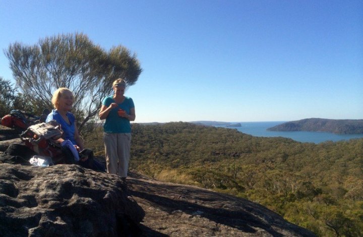 Lunch on Taffys Rock with view of Lion Island