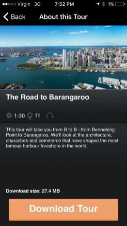 The Road to Barangaroo App