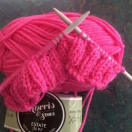 Knitting Pink Beanies