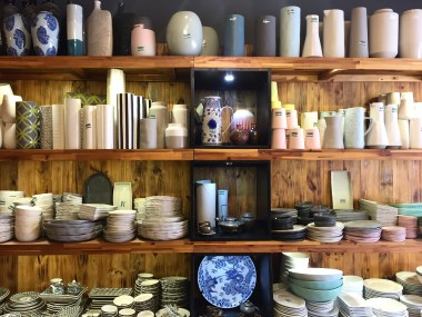 Potteries line the endless shelves of the shops in this ceramic paradise.