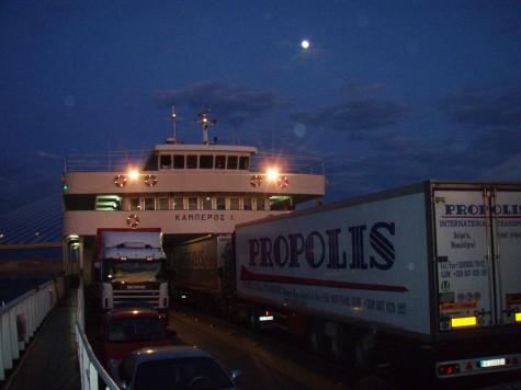 På ferje til Peloponnes!