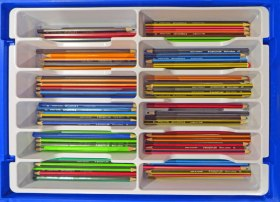Pencils all safely back inside the box at the end of the day.