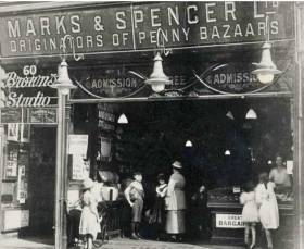 Marks & Spencer opens its first Penny Bazaar in Manchester 1894.