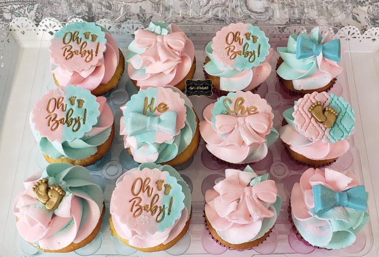 Gender reveal cupcakes