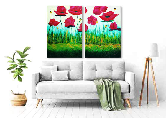 poppy paintings over couch