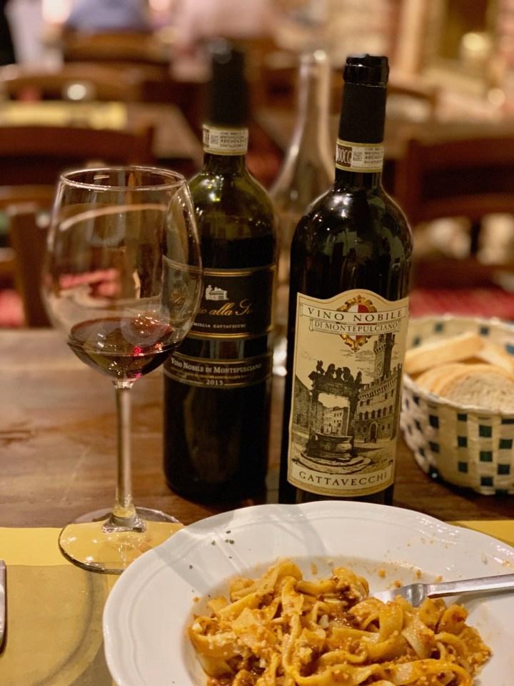 Tagliatelle al ragù and Vino Nobile di Montepulciano