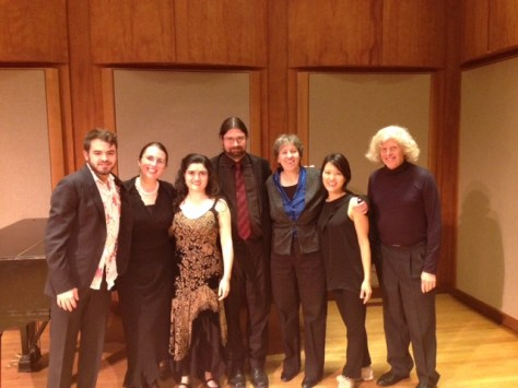 Wonderful collaborators, degree recital, February 2015. Sammo Gabay, Cheryl Forest Morganson, John Ott, Dana Maiben, Song Eunjeong, Robert Merfeld