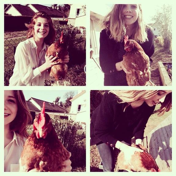 Nos élèves avec les poules.