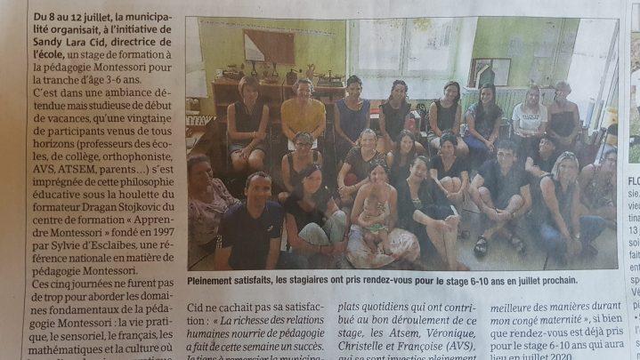 Une formation Montessori 3/6 ans grâce à la volonté d'une Mairie.