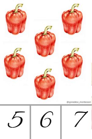 Cartes pour compter les légumes