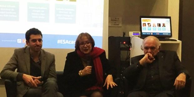Cyril Eldin (journaliste), Sylvie Faucheux (professeur en sciences économiques - CNAM) et Michel Offredo (directeur du projet banlieues - BNP Paribas) lors de la soirée de remise des prix de l'Académie de l'entrepreneuriat social à l'INSEEC