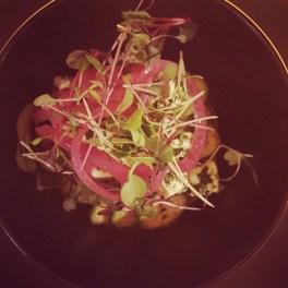 Salade de concombres libanais, pickles d'oignon rouge, feta et menthe fraîche