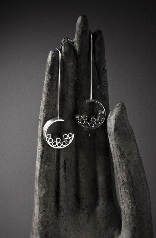 Boucles d'oreilles longues en argent collection Tubular Round Line