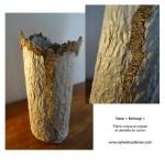 Vase Kintsugi en papier et dentelle de carton. Sylvie Loudieres.
