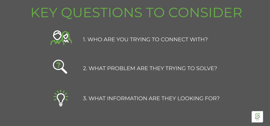 Why are you trying to connect with? What problem are they trying to solve? What information are they looking for?