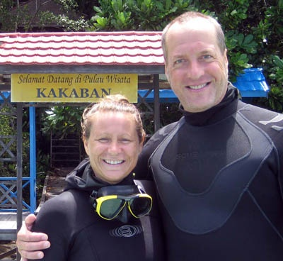 Peter and Kristine taking dive guests to see Jellyfish lake in Kakaban, Indonesia.