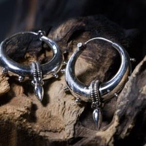 Boucles d'oreilles ethnique en argent 925 Taille : 4,5 cm