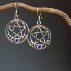 Boucle d'oreille en argent 925 Symbole Pentagramme Pierre iolite