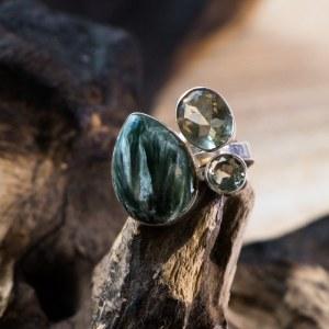 Bague en argent pierre Séraphinite Améthyste verte