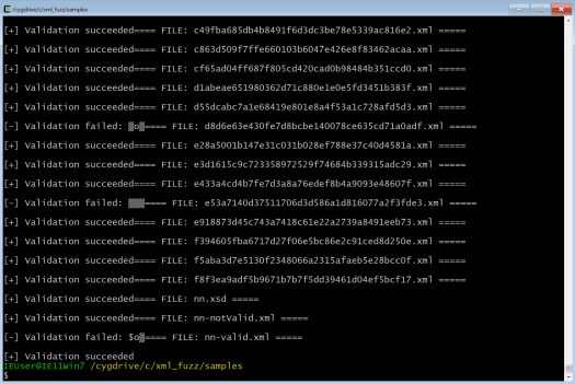 Looping through the test cases with Cygwin